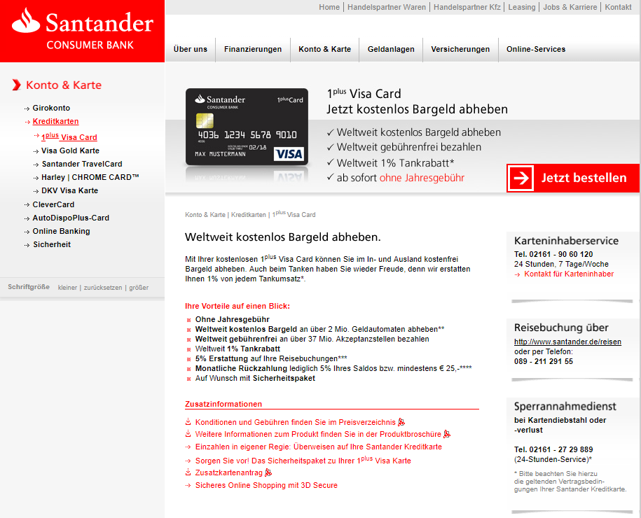 Santander 1plus Kredit Card