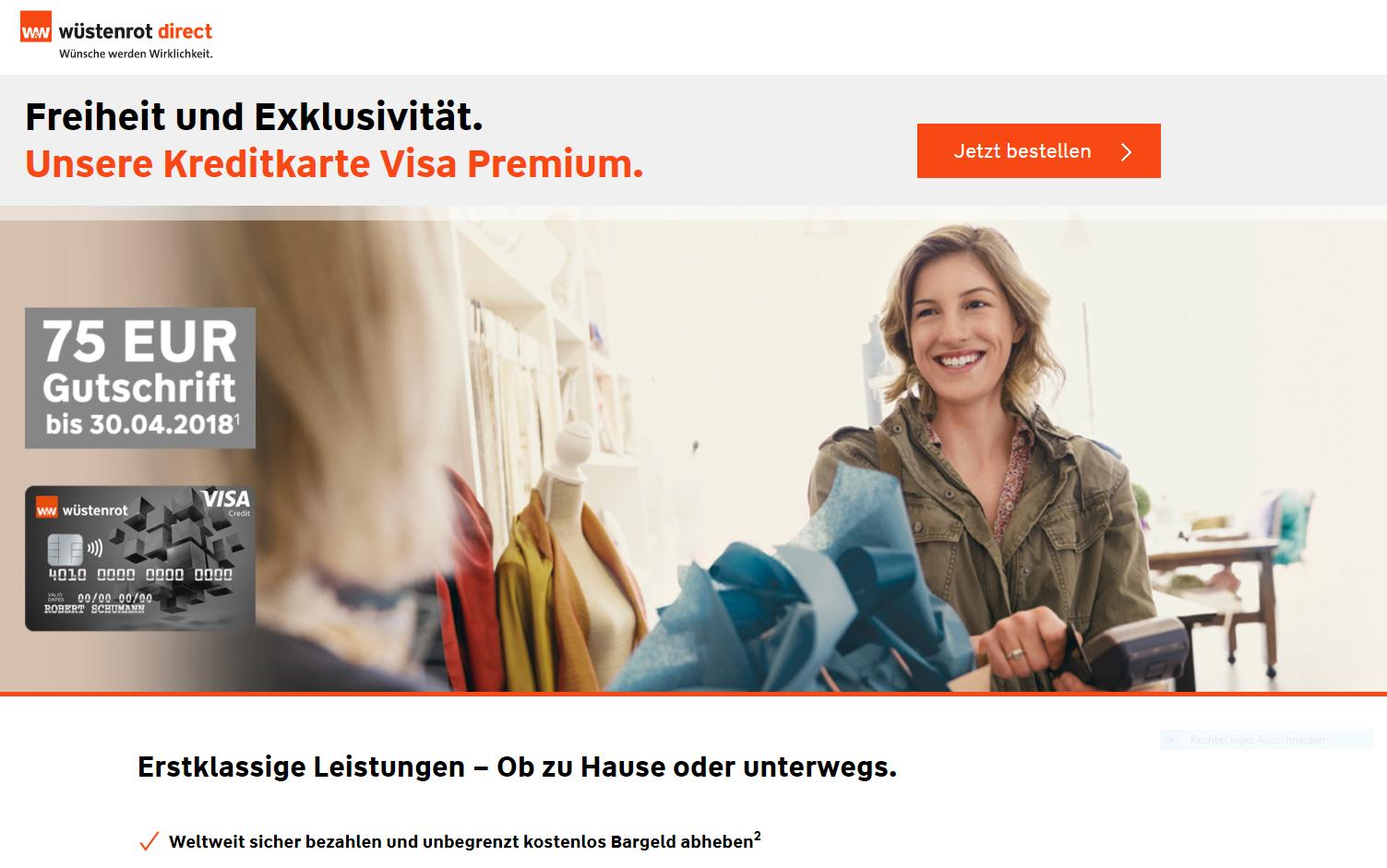 Wüstenrot & Württembergische Visa Premium Kreditcard