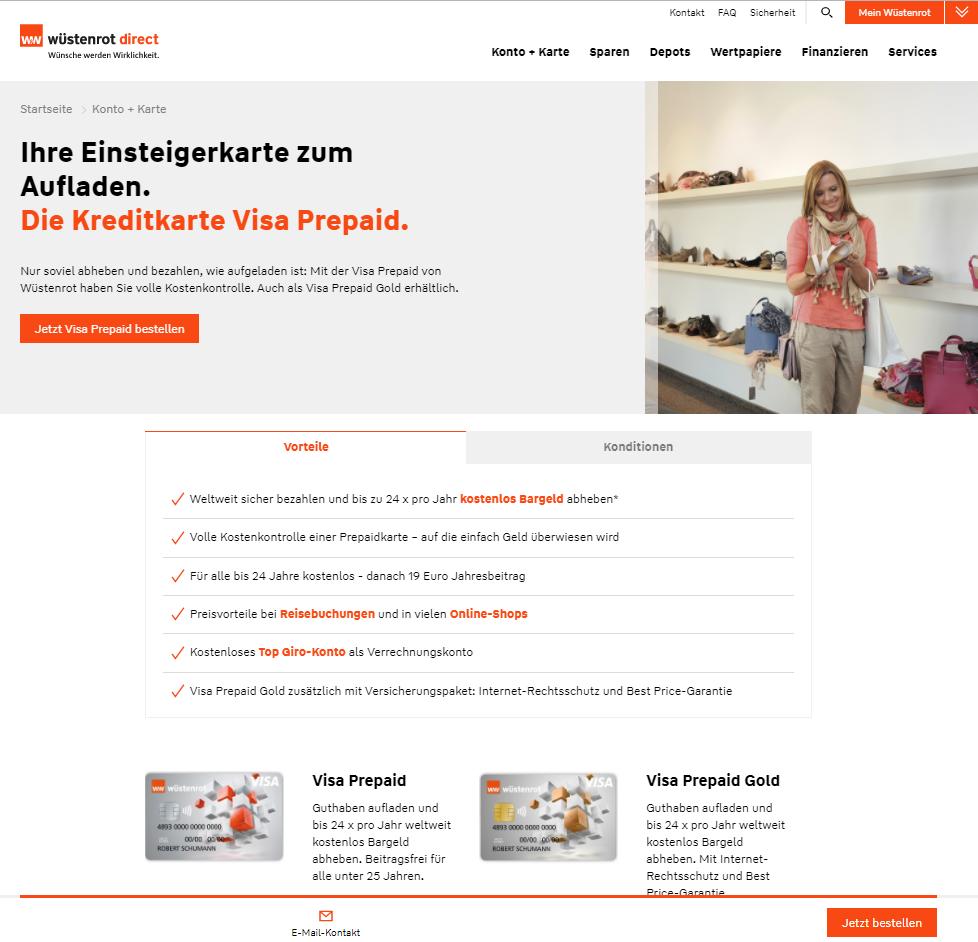 Wüstenrot & Württembergische Visa Prepaid Kreditcard