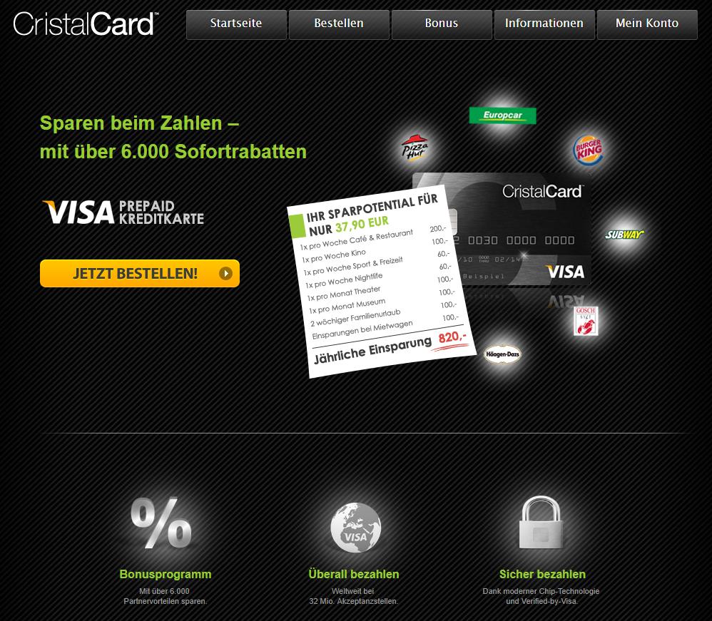 CristalCard Visa Pripaid Card