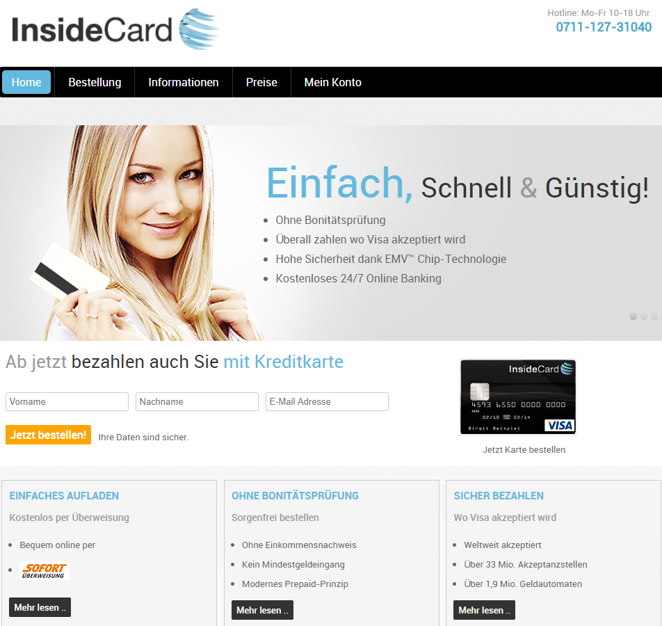 InsideCard Visa Prepaid Kreditkarte