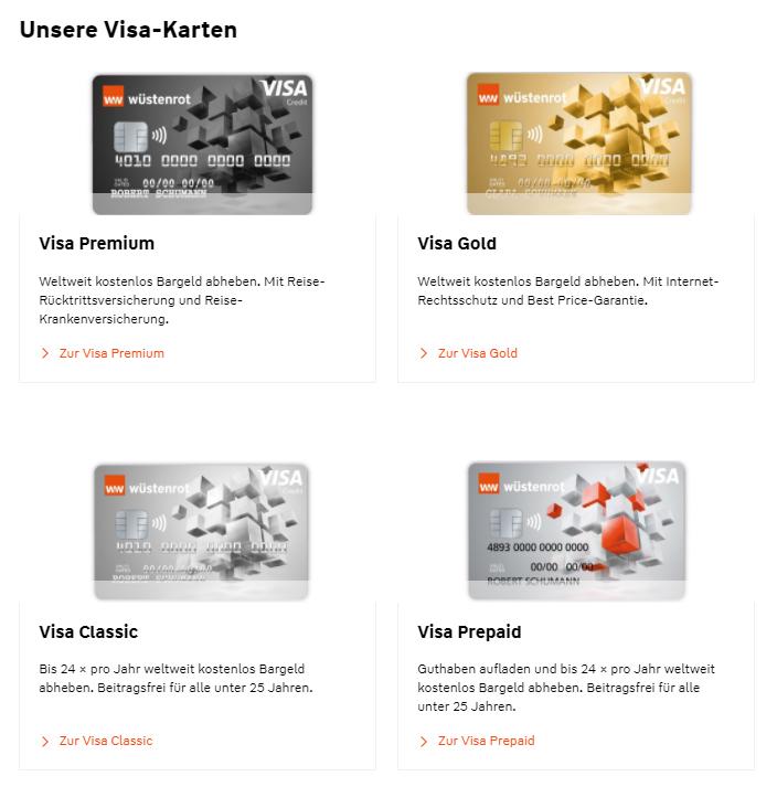 Wüstenrot VISA Kreditkarten als Classic, Gold, Premium, Prepaid Kreditkarte
